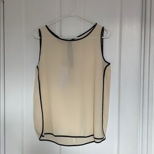 Stefanel silk sleeveless top with black piping